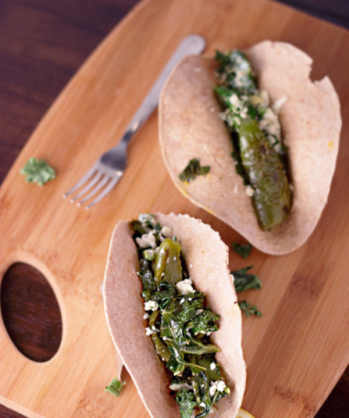 Kale with Bell Peppers and Egg Breakfast Tacos