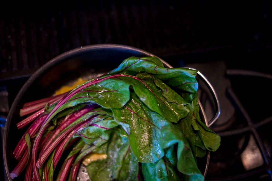 Braised Rainbow Chard with Toasted Pine Nuts